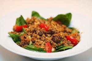 Mexicansk spinatsalat med torsk